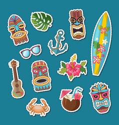 cartoon summer travel elements stickers set vector image