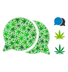 Chat messages collage of weed leaves vector