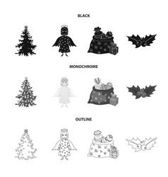 Christmas tree angel gifts and holly black vector