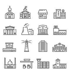 city buildings isolated linear icons set vector image