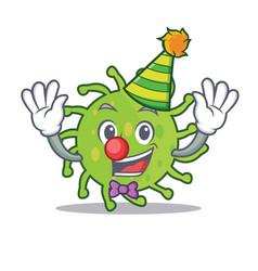 clown green bacteria mascot cartoon vector image