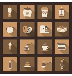 Coffe flat icons set vector