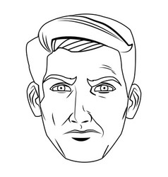 Comic face man expression pop art style vector