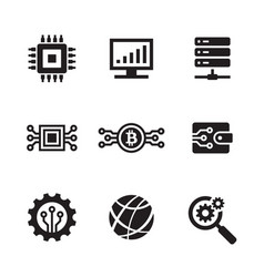 computer electronic technology - black web icon vector image
