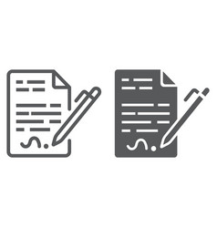 contract line and glyph icon agreement vector image