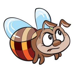 Cute angry bee character cartoon isolated object vector