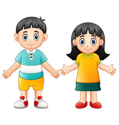 Cute children waving hand vector