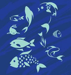 Decorative Blue Fish Silhouettes vector