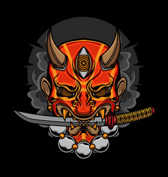 Demon oni mask katana vector
