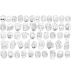 Different funny cartoon black and white characters vector