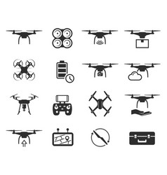 Drones black icon set helicopter technology and vector
