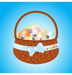 Easter basket with bingo eggs vector image vector image
