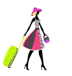 Elegant woman with luggage vector image vector image
