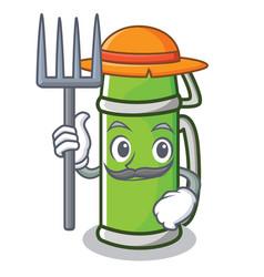 Farmer thermos character cartoon style vector