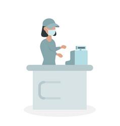 female supermarket cashier in medical protective vector image