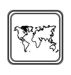 Figure emblem earth planet map icon vector