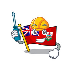 Flag bermuda cartoon automotive on pole vector