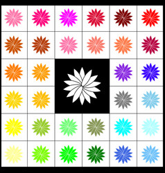 Flower sign felt-pen 33 colorful icons at vector