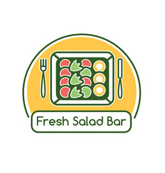 Fresh salad bar logotype with salad in box vector