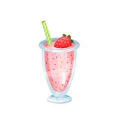 fresh strawberry smoothie healthy food for vector image