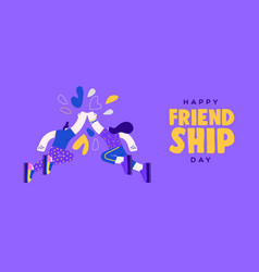 friendship day woman and man fist bump banner vector image