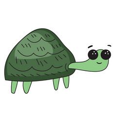 Funny cartoon turtle set on isolated white vector