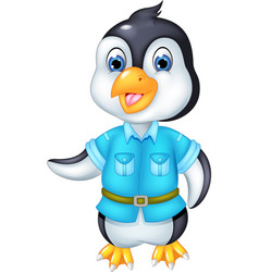funny pinguin cartoon posing with smile and waving vector image