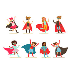 girls in superhero costume set pretty little vector image