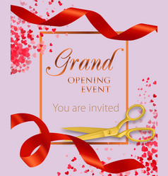 Grand opening event lettering with heart confetti vector