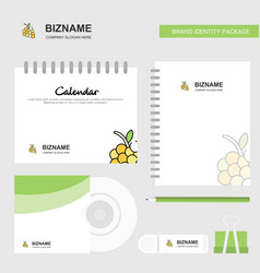 grapes logo calendar template cd cover diary and vector image