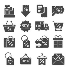 gray black friday icons set vector image