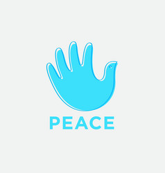 Hand breadth like blue pigeon with contour blue vector