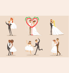 happy elegant romantic just married couples in vector image
