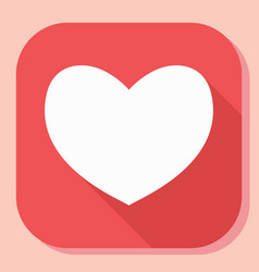 heart icon with long shadow modern simple flat vector image