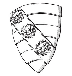 Heraldic shield with a lions face a knight of vector