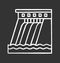 Hydroelectric dam chalk icon vector