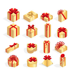 isometric set of colorful gift boxes with bows vector image