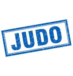 Judo blue grunge square stamp on white vector