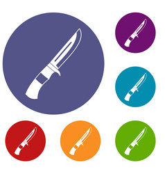 knife icons set vector image