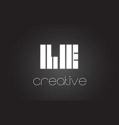 Le l e letter logo design with white and black vector