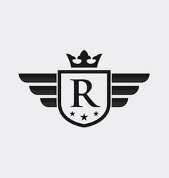 letter r shield wing vector image