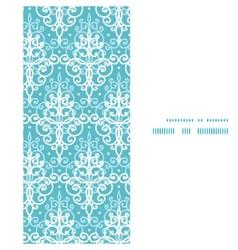 Light blue swirls damask vertical frame seamless vector