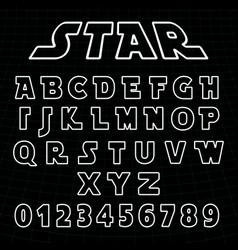 Lines alphabet font template set of letters vector