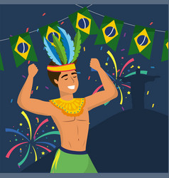 man dancer with costume and party brazil banner vector image