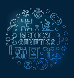 Medical genetics round blue outline vector