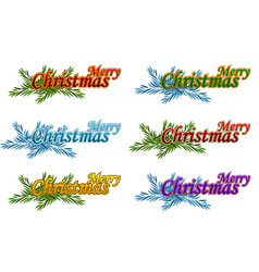 merry christmas happy new year logo vector image