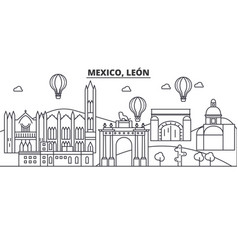 Mexico leon architecture line skyline vector