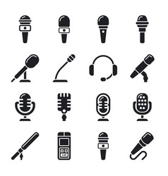 Microphone sound radio icons vector