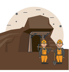 mining workers cartoon vector image