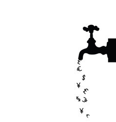 money icon with fountain black vector image